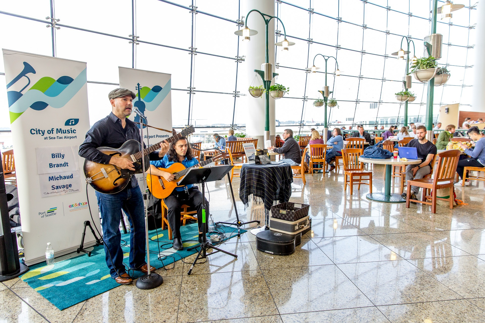 musicians perform at sea-tac airport
