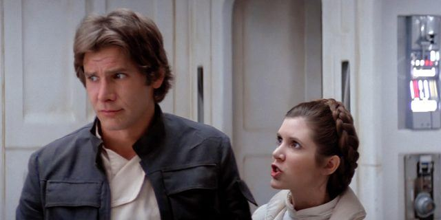 Han Solo and Princess Leia in 'The Empire Strikes Back'.