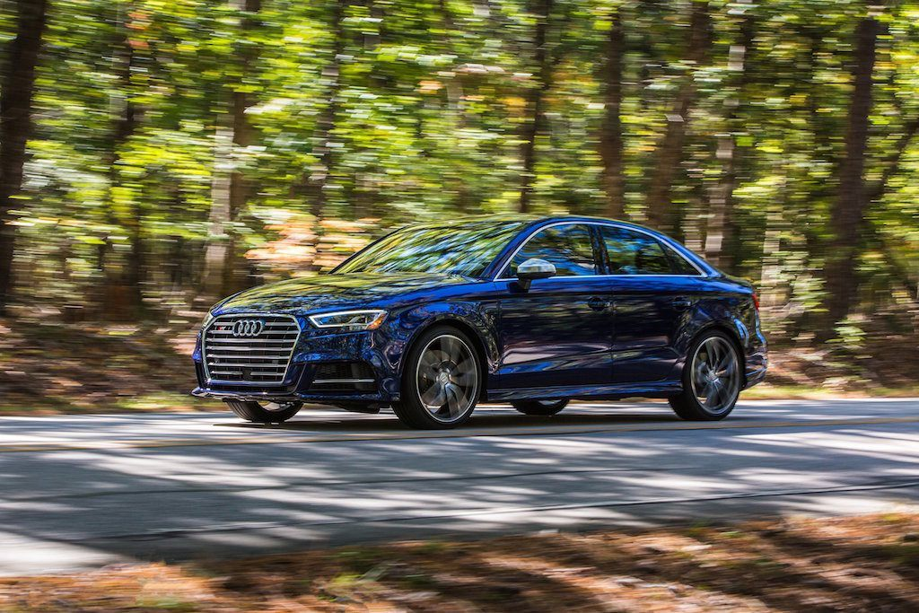 View of 2017 Audi S3 on a wooded lane