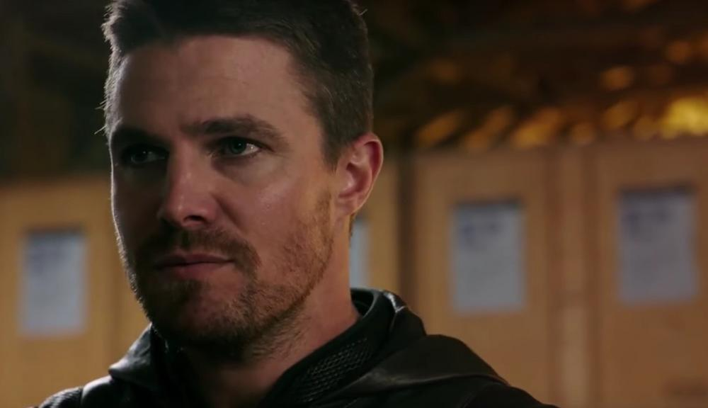 Stephen Amell's Oliver Queen in his Arrow suit on The CW's Arrow