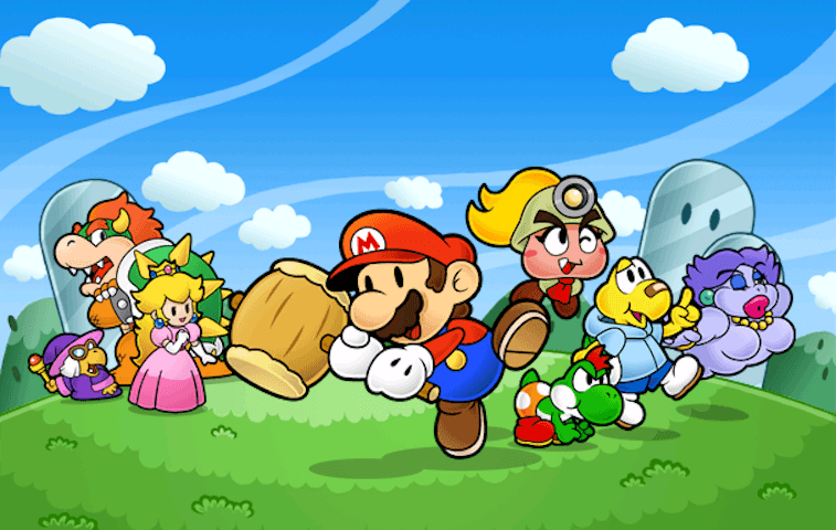 Mario and friends in 'Paper Mario: The Thousand-Year Door'