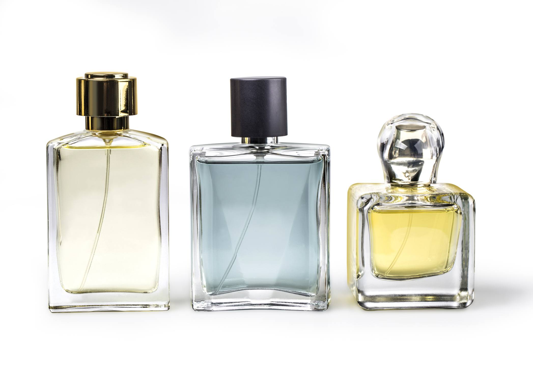 Studio photo of set of luxury perfume bottles