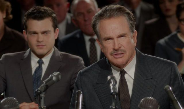 Frank Forbes (Alden Ehrenreich) and Howard Hughes (Warren Beatty) in a scene from 'Rules Don't Apply'