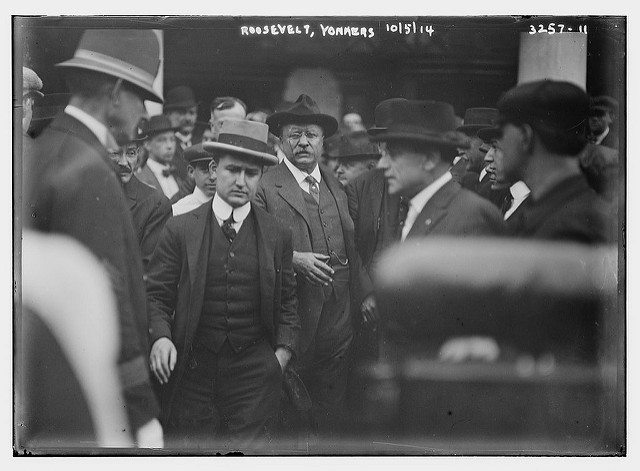 Black and white photograph of Theodore Roosevelt while campaigning.