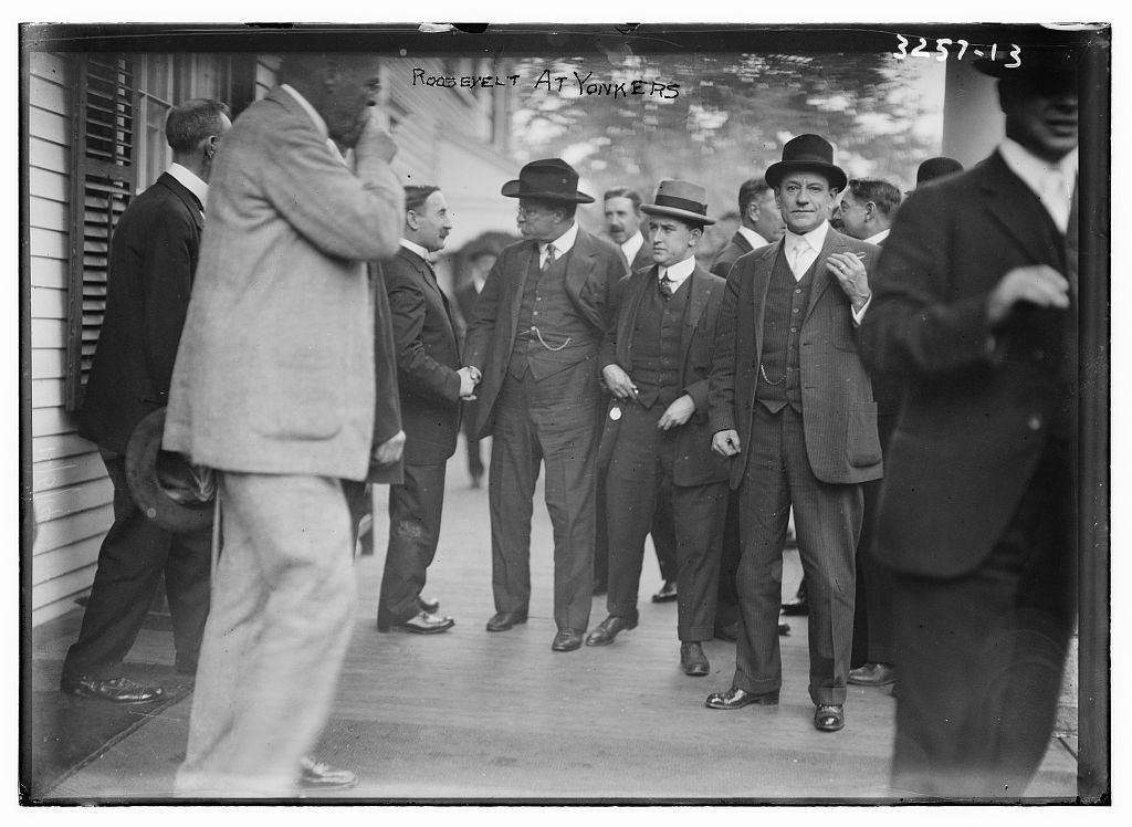 Black and white photo of Teddy Roosevelt in Yonkers