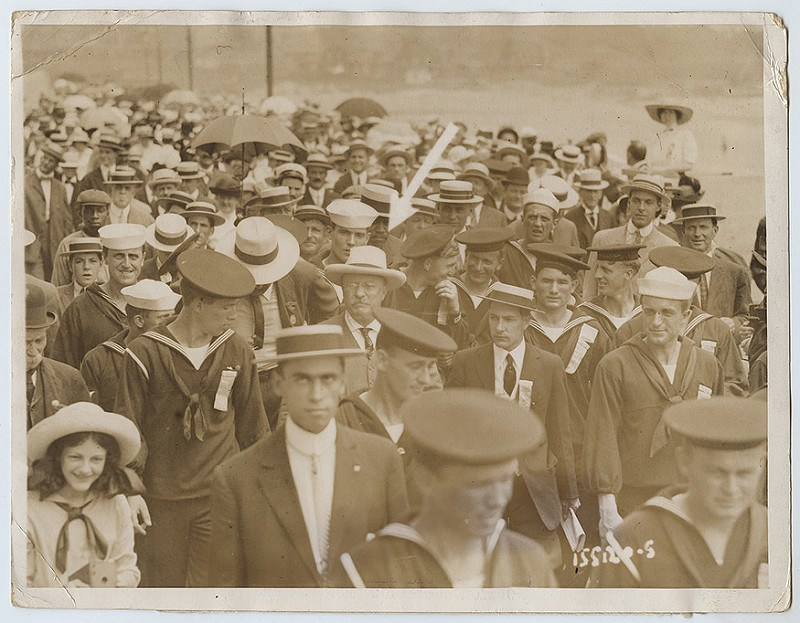 Teddy Roosevelt in a crowd