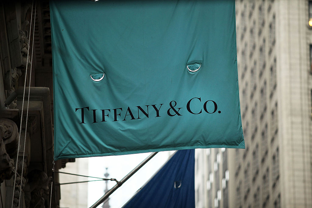 A flag for a Tiffany & Co. store hangs along Wall Street in Manhattan