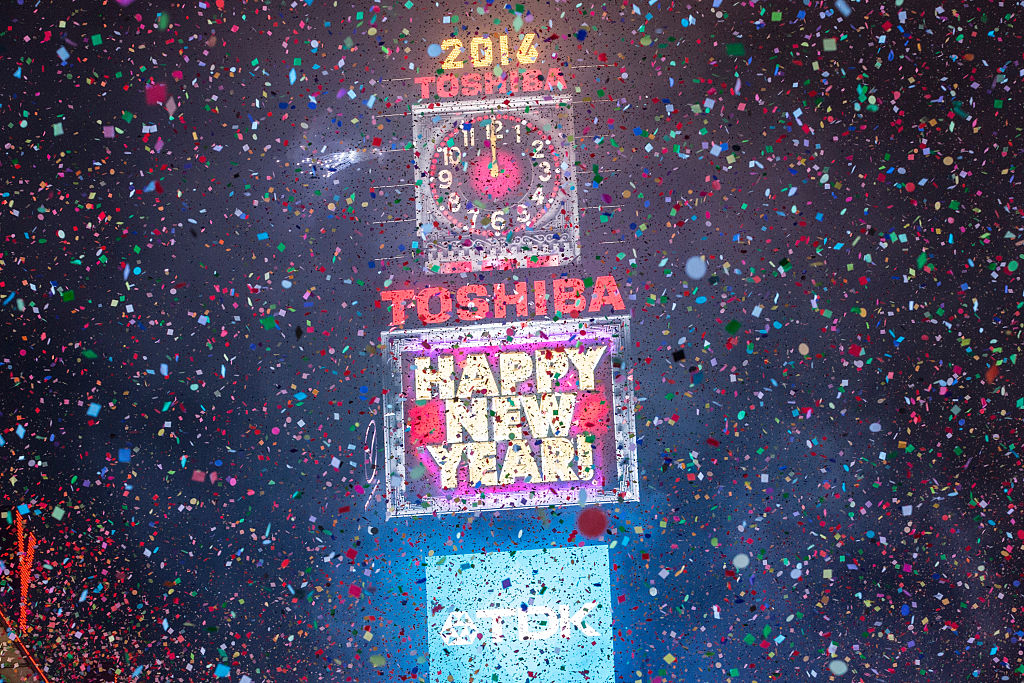 Confetti floats through the air as the new year is rung in in Times Square on January 1