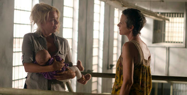 Andrea holds Judith while talking to Carol in a scene from 'The Walking Dead' episode 'I Ain't a Judas'