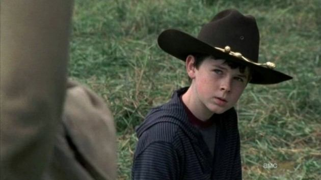Chandler Riggs as Carl Grimes on The Walking Dead.