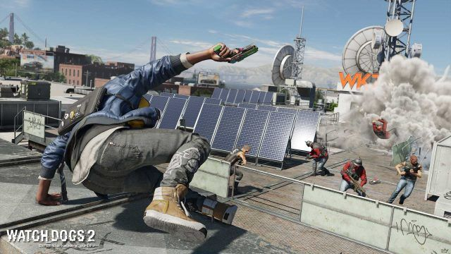 Marcus vaulting over a duct in Watch Dogs 2