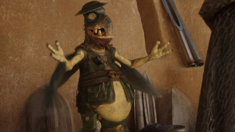 Watto wearing a tin bowl as a hat, smiling with his arms extended