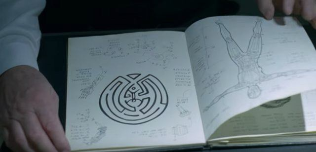 Ford's notebook shows a drawing of the maze in a scene from 'Westworld'