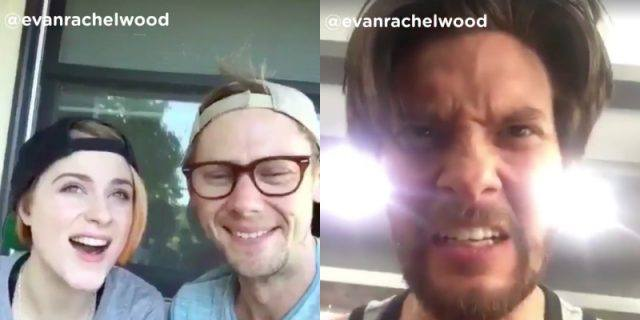 Still images from two Dubsmash videos featuring Evan Rachel Wood, Jimmi Simpson and Ben Barnes