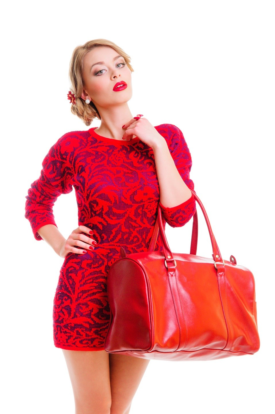 fresh beautiful woman with bag