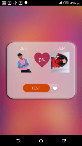 A potential match loaded in the Girl Boy Love Test Calculator app.