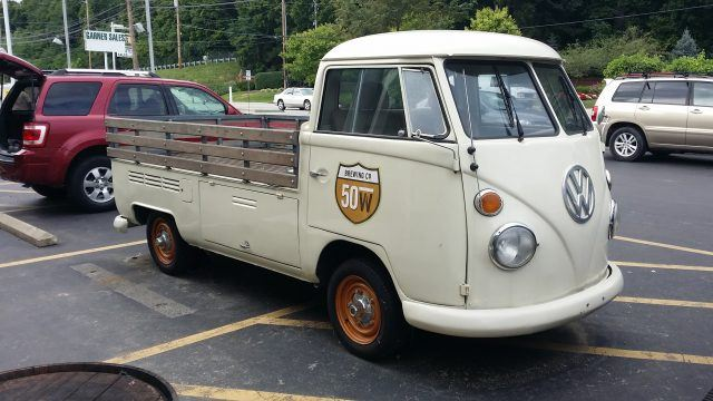 50 West, a brewery in Cincinnati, displays one of its VW work truck in front of its facilities