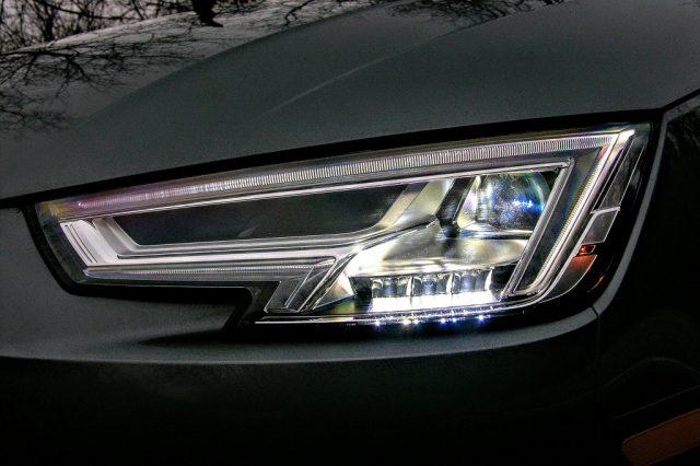 A view of the 2017 Audi A4's headlights