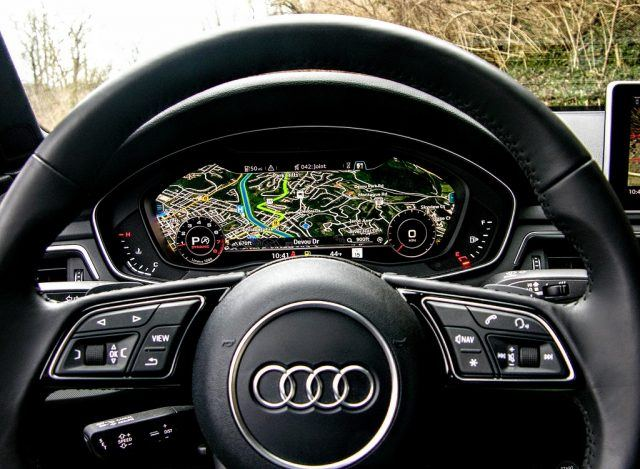 The steering wheel of the 2017 Audi A4