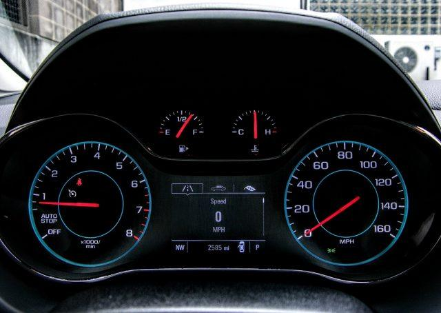 Illuminated gauges and a detailed driver display keep drivetrain information at the forefront in this GM offering