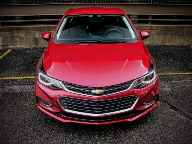 Sharply drawn lines and angular aerodynamics help make the nose of the Chevrolet Cruze appear aggressive