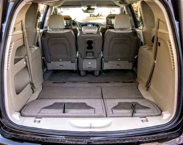 The rear bench of the 2017 Chrysler Pacifica folds flat into the floor