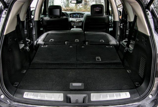 The third row in this Infiniti can be folded flat electronically with the push of a button