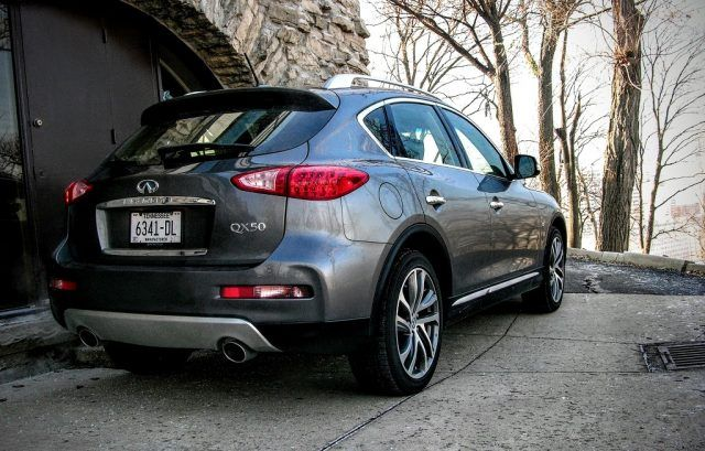A dual-port exhaust sits nestled within the confines of a rear diffuser on Infiniti's smallest hatchback