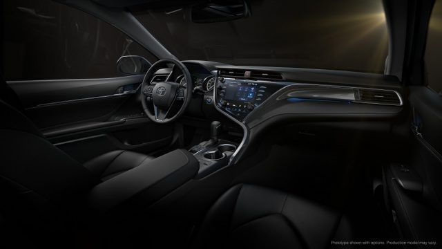 The cabin of the 2018 Toyota Camry looks every bit like it was pulled from the pages of a sci-fi saga
