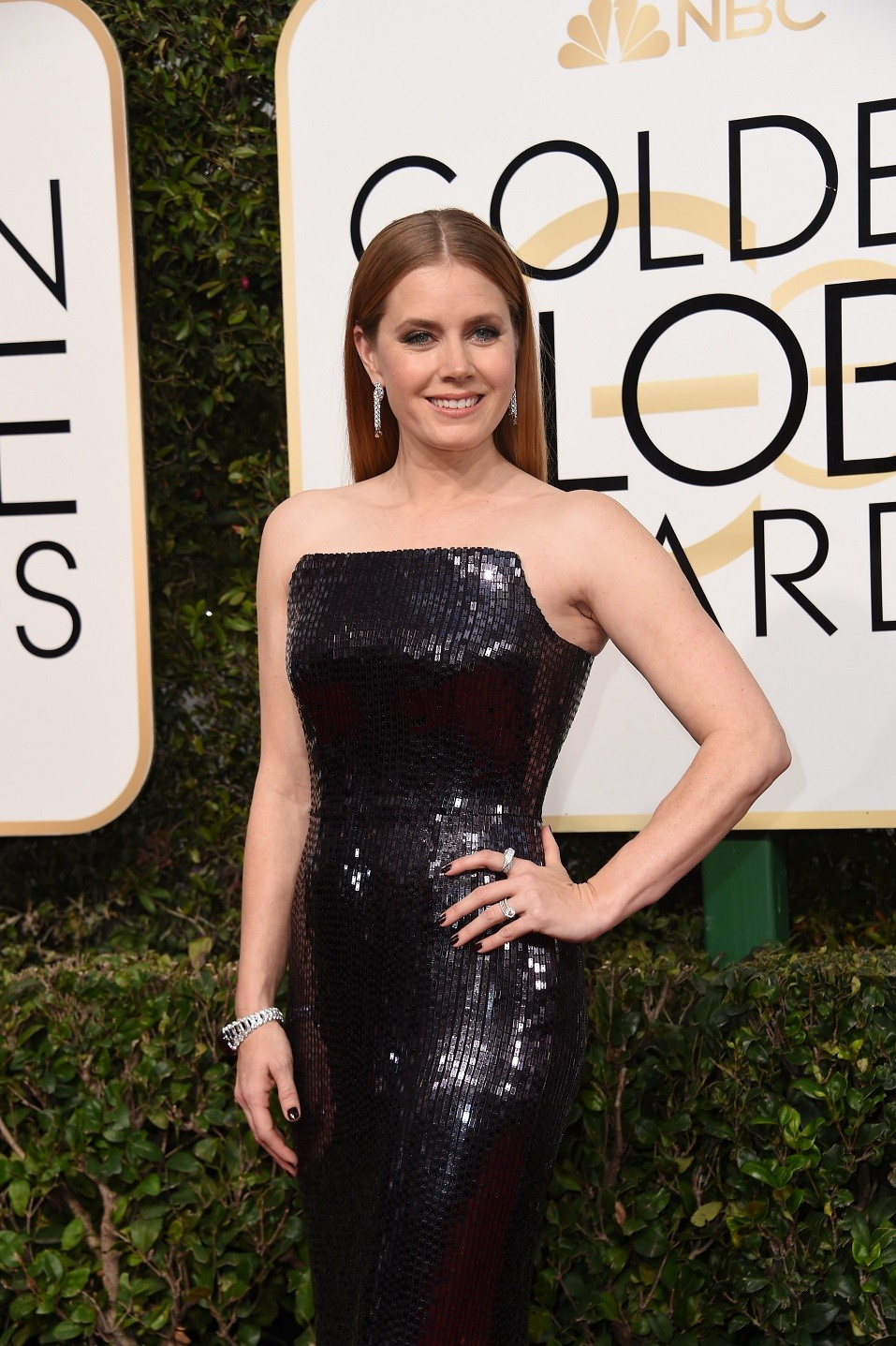 Actress Amy Adams arrives at the 74th annual Golden Globe Awards