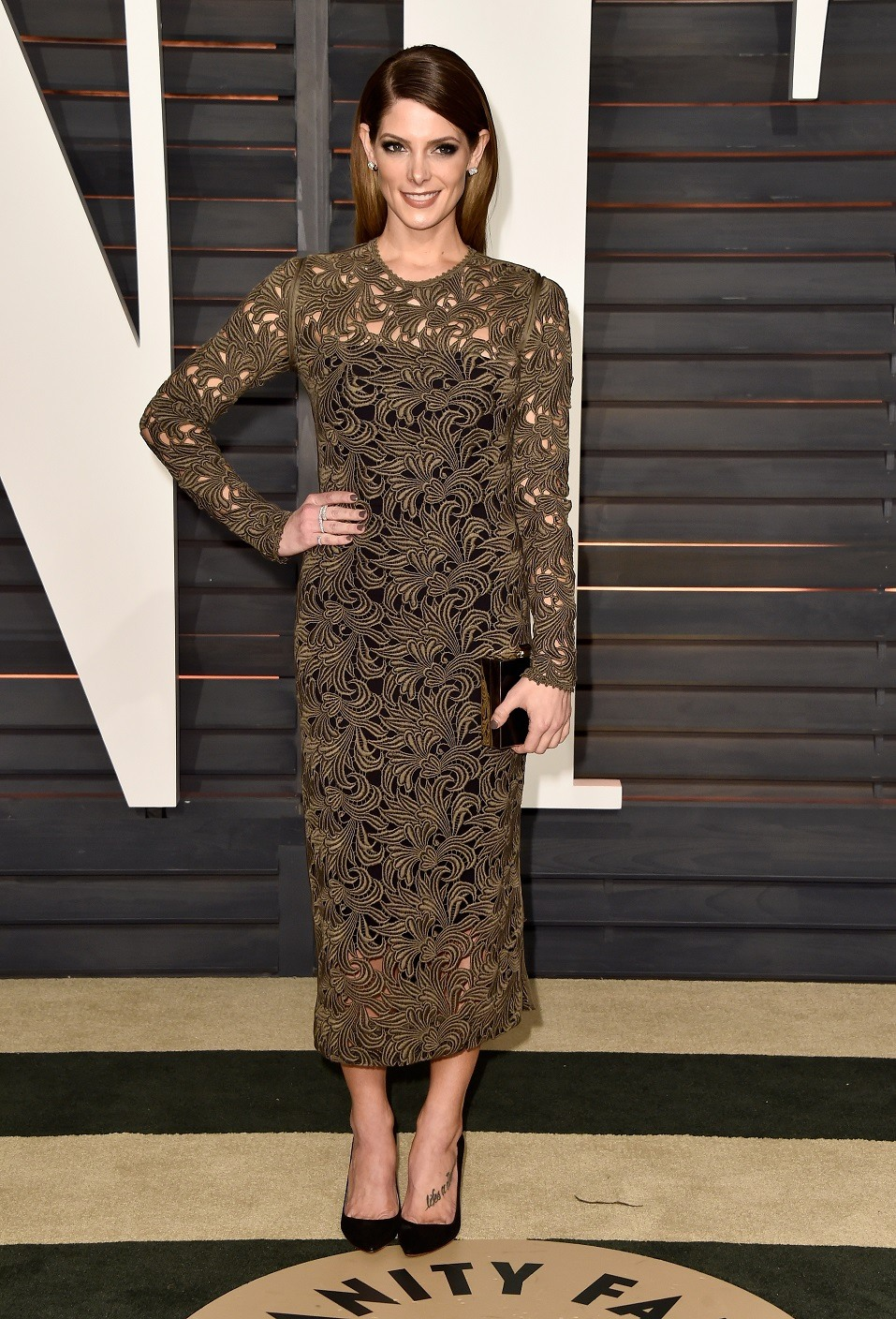 Actress Ashley Greene attends the 2015 Vanity Fair Oscar Party