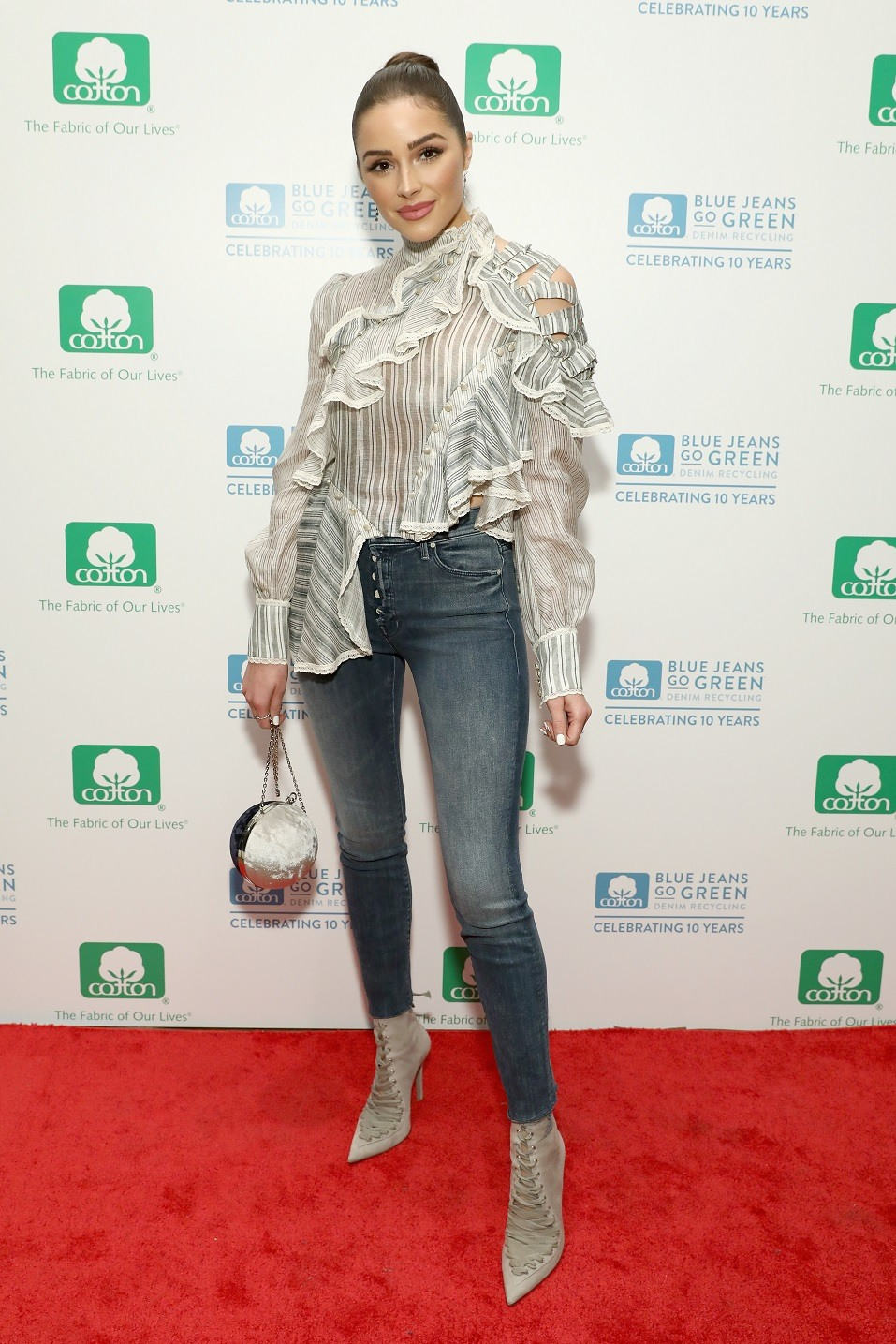 Actress Olivia Culpo attends Cotton Incorporated's celebration of 10 Years of the Blue Jeans Go