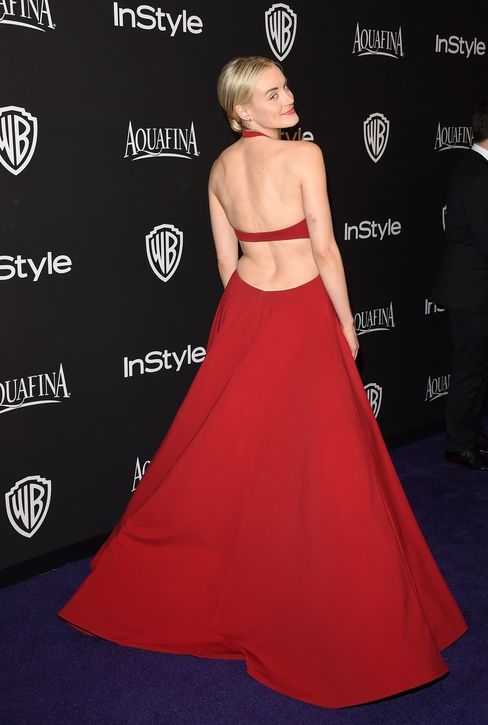 Actress Taylor Schilling attends the 2015 InStyle And Warner Bros. 72nd Annual Golden Globe Awards