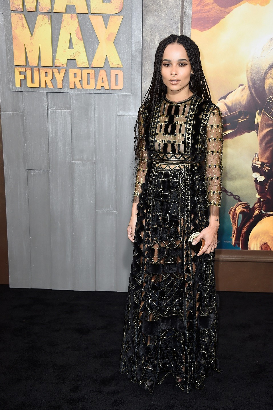 "Actress Zoe Kravitz attends the premiere of Warner Bros. Pictures' ""Mad Max: Fury Road"" at TCL Chinese Theatre"