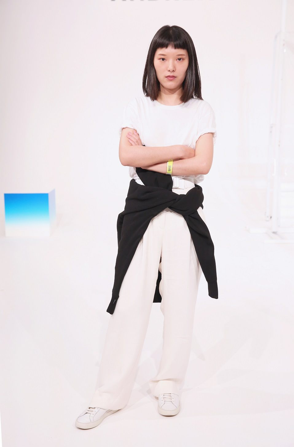 Fashion designer Andrea Jiapei Li poses