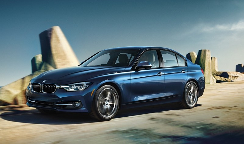 The BMW 3-Series in blue.