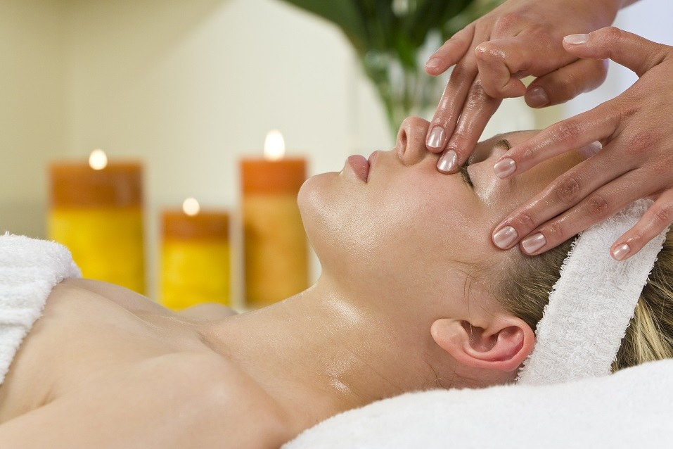 A young woman relaxing at a health spa