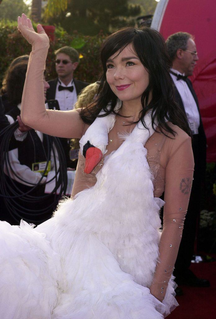 Actress and singer Bjork who is wearing a dress that looks like a swan