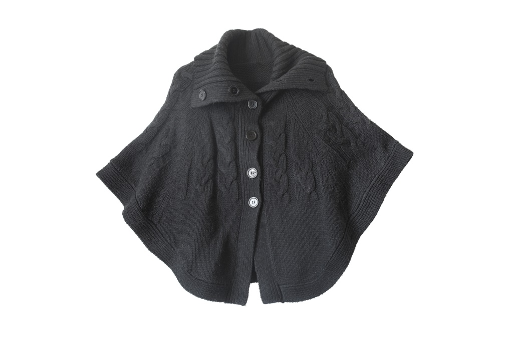 Black wool buttoned cape