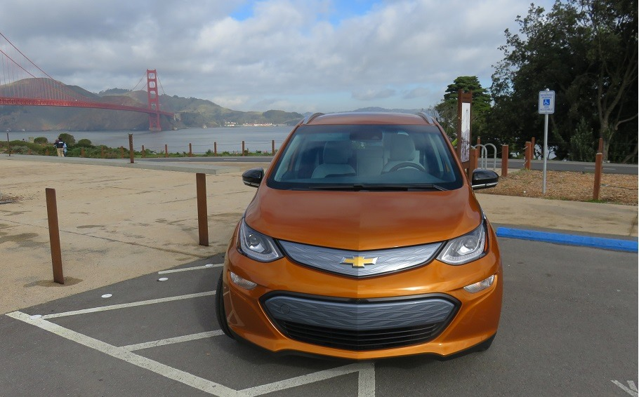 The 2017 Chevrolet Bolt EV sits parked in a lot overlooking the Golden Gate Bridge in San Francisco, California