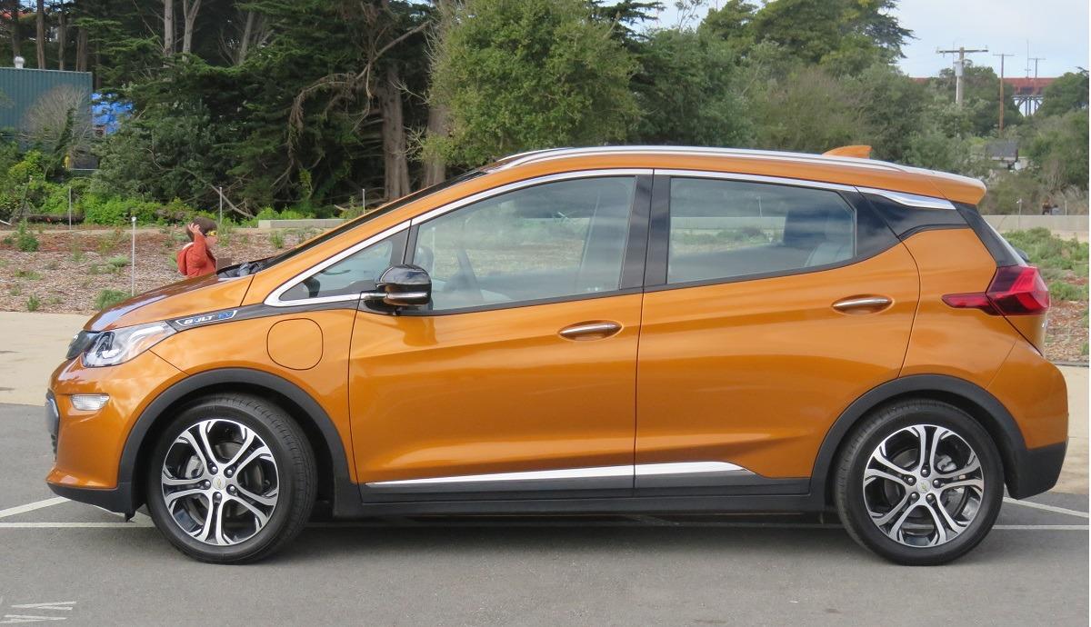 An orange 2017 Chevrolet Bolt EV