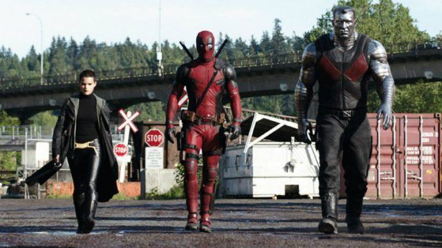 Brianna Hildebrand, Ryan Reynolds and Colossus in 'Deadpool'.
