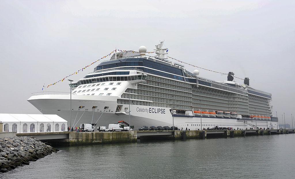 Tourists board the Celebrity Eclipse cruiser