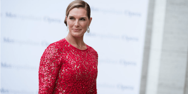 Brooke Shields poses in a red dress while staring to the side.