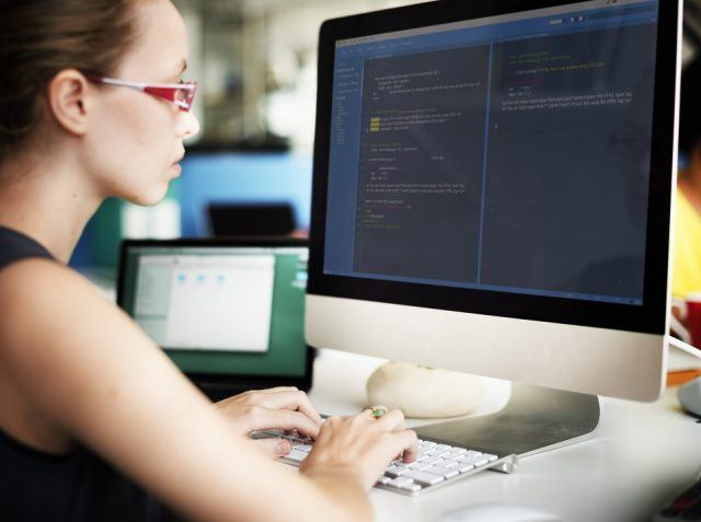woman on a computer
