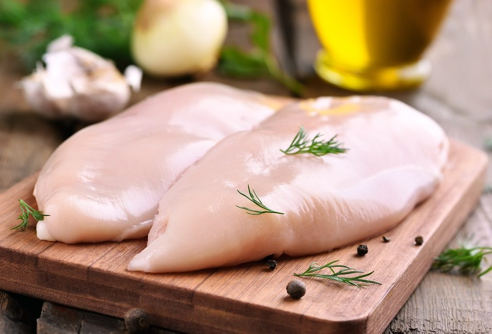 Raw chicken breasts