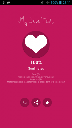 A screenshot of the My Love Test app displaying a soulmates level pairing.