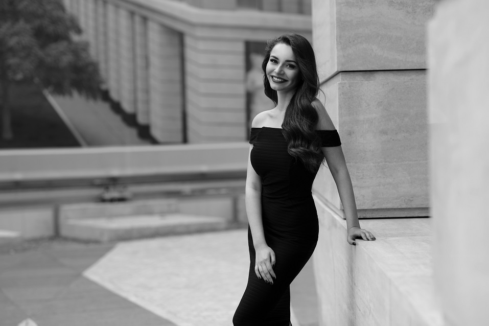 beautiful elegant woman in black dress