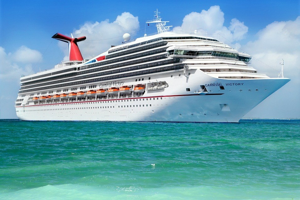 A Carnival cruise ship sails in the Caribbean