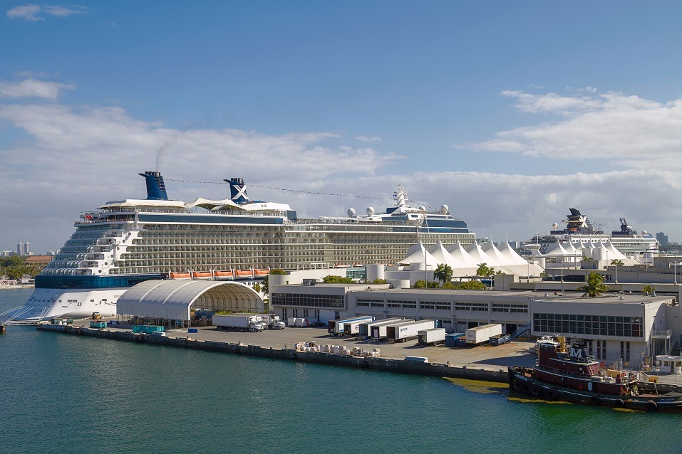 Cruise ships sit parked in the Port of Miami in Miami, Florida
